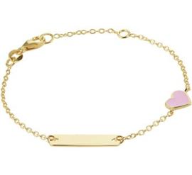 Gouden Graveer Kinderarmband Roze Hart plaat 5 mm 12 – 14 cm