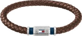 Bruin Lederen Gevlochten Armband van Tommy Hilfiger