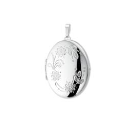 Ovaalvormig Foto Medaillon van Zilver met Decoraties