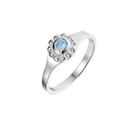 Zilveren Ring voor Kinderen met Rond Kopstuk met Blauwe Topaas