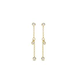 Excellent Jewelry Gouden Oorstekers met Schakelketting en Diamanten