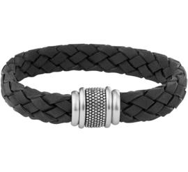 Zwarte Armband van Gevlochten Leder met Stalen Sluiting
