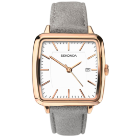 Vierkant Roségoudkleurig Dames Horloge met Grijs Leder
