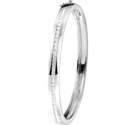 Zilveren Bangle armband met Scharniersluiting en Zirkonia's