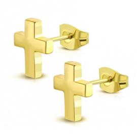 Goudkleurige Kruis Oorknoppen van Edelstaal
