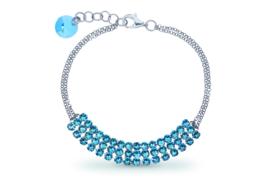 Stylish Zilveren Armband met Lichtblauwe Swarovski Kristallen