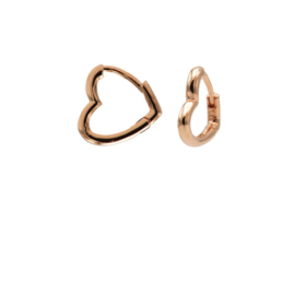Roségoudkleurige Hartvormige Oorringen 11MM | Karma Jewelry