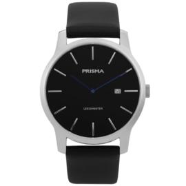 Prisma Edelstalen Heren Horloge met Zwarte Lederen Horlogeband