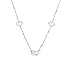 Zilveren Collier met hartjes 1,3 mm 36 + 4 cm