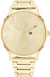 Tommy Hilfiger Goudkleurig Dames Horloge met Decoratieve Wijzerplaat