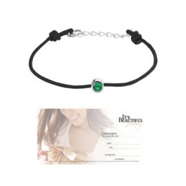 Zwarte Armband met Synthetische Smaragd + € 10,00 Cadeaubon