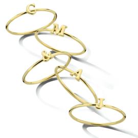 Gouden Aanschuifring Ring met Letter