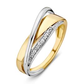 Excellent Jewelry Geelgouden Dames Ring met Witgoud en Zirkonia's