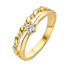 Excellent Jewelry Geelgouden Ring met Decoraties en Zirkonia's