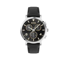 Hugo Boss Horloge Spirit Zilverkleurig Horloge met Zwart Lederen Band van Boss