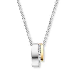Excellent Jewelry Zilveren Hanger met Gouden Element en Zirkonia's