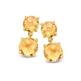Excellent Jewelry Geelgouden Oorstekers met Citrien Edelstenen