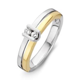 Excellent Jewelry Vlakke Bicolor Ring met Briljanten