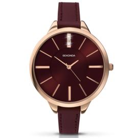 Robuust Roségoudkleurig Sekonda Horloge voor Dames met Rode Wijzerplaat