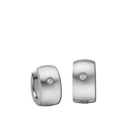 Zilverkleurige Bolstaande Klapcreolen met Zirkonia van M&M