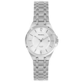 Prisma Zilverkleurig Dames Horloge met Schakelband