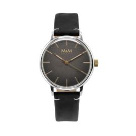 M&M Horloge met Zilverkleurige Ronde Kast en Zwarte Horlogeband