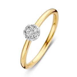 Excellent Jewelry Geelgouden Bolstaande Ring met 0,10 crt. Diamant