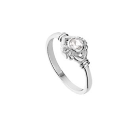 Zilveren Ring met Kopstuk en Witte Strass Steen voor Kinderen