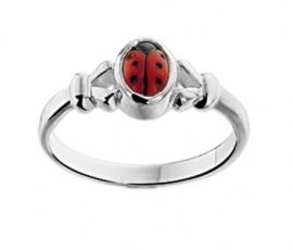 Zilveren Lieveheersbeestjes Ring