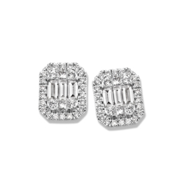 Excellent Jewelry Witgouden Oorstekers met Emerald Vorm en Briljanten