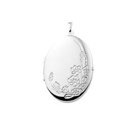 Ovaal Foto Medaillon van Zilver met Bloemen Decoratie | 25 x 35,5 mm