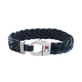Tommy Hilfiger Heren Armband met Gevlochten Blauw Leder TJ2790158