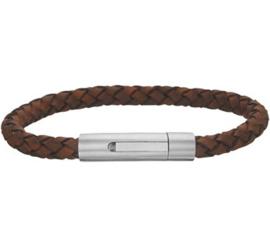 Gevlochten Bruin Lederen Armband met Handige Sluiting