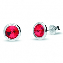 Tiny Bonbon Rode Swarovski Oorknopjes van Spark Jewelry