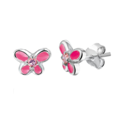 Zirkonia Vlinder Oorknoppen van Zilver met Roze Emaille