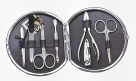 Ronde Donkergrijze Manicure Set van Davidts Chrome