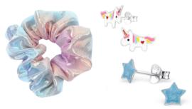 Giftset | Kinderoorbellen Ster + Unicorn + Scrunchie