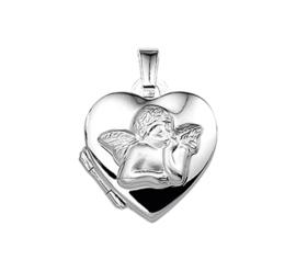 Hartvormig Medaillon van Zilver met Engeltje