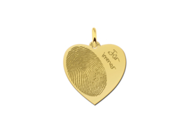 Hartvormige Hanger met Vingerafdruk en Tekst van Goud Names4ever