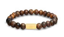 Essential Gold   Matte Tijgeroog Kralen Armband van Blaauw Bloed