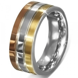 HERENRING 3 kleuren band / - Graveer Ring SKU55257