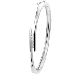 Zirkonia Bangle armband van Zilver met Scharniersluiting