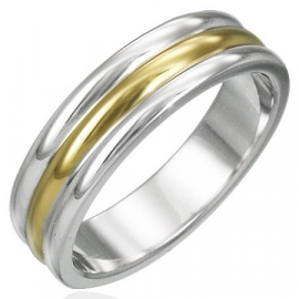 Graveer ring / Zilver met goud kleurige 3 band SKU20895