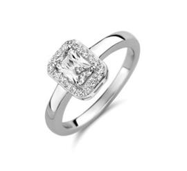 Vierkante Zirkonia Zilveren Dames Ring