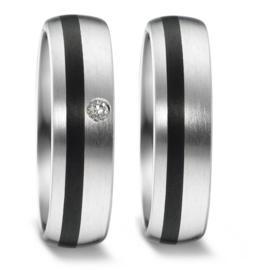 Matte Zilveren Trouwringen Set met Carbon en Diamant