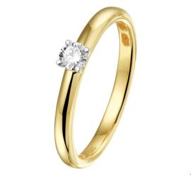 Bicolor Gouden Ring met Transparante Diamant