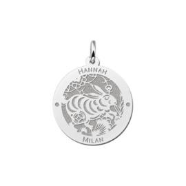 Ronde Chinese Sterrenbeeld Konijn Hanger van Zilver
