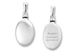 Zilveren Ovaalvormige Ashanger met Tekst - Names4ever