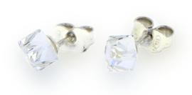 Witte Swarovski Kubus Oorstekers van Spark Jewelry