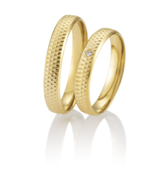 Breuning Gouden Aizen Trouwringen Set met Diamant